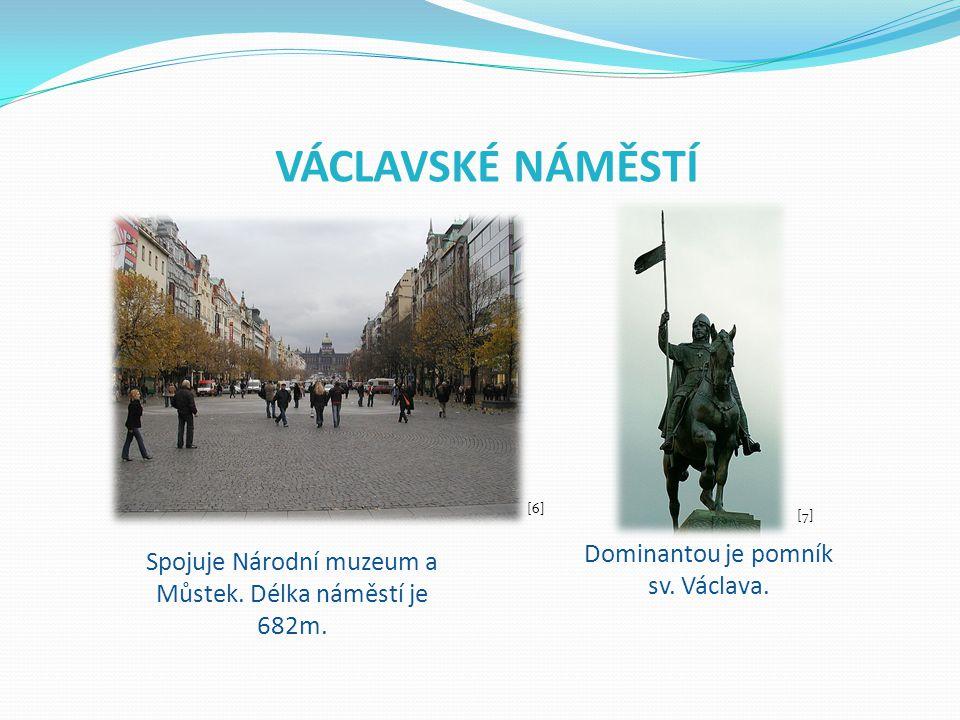 VÁCLAVSKÉ NÁMĚSTÍ Dominantou je pomník sv. Václava.