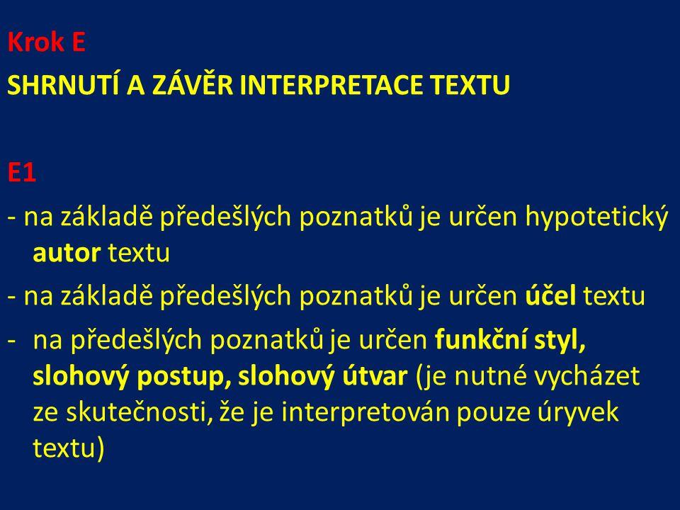 Krok E SHRNUTÍ A ZÁVĚR INTERPRETACE TEXTU. E1. - na základě předešlých poznatků je určen hypotetický autor textu.