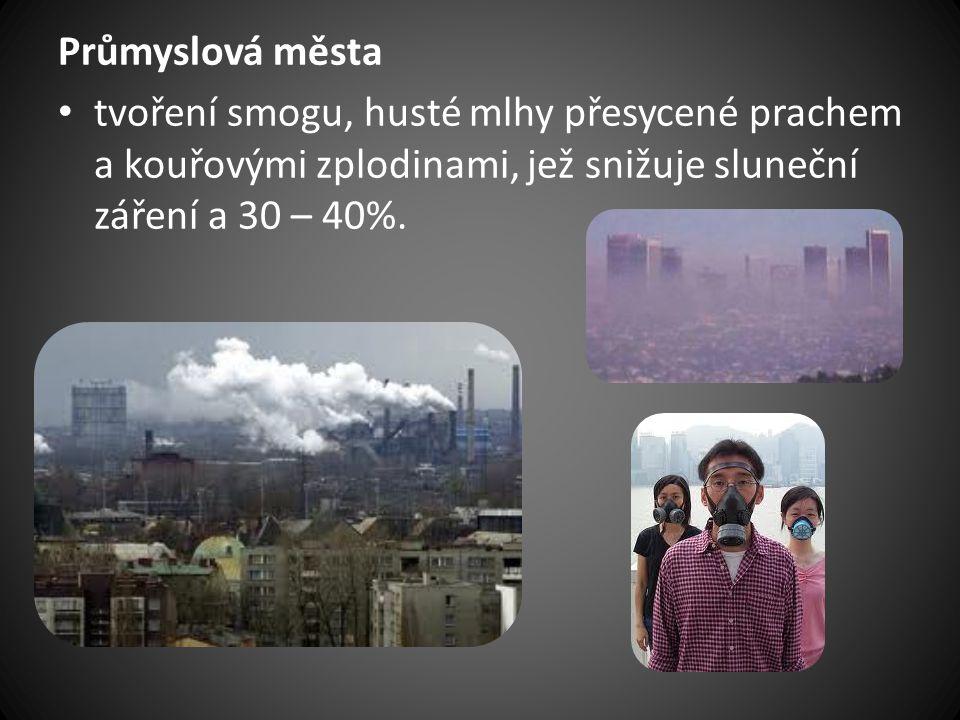 Průmyslová města tvoření smogu, husté mlhy přesycené prachem a kouřovými zplodinami, jež snižuje sluneční záření a 30 – 40%.