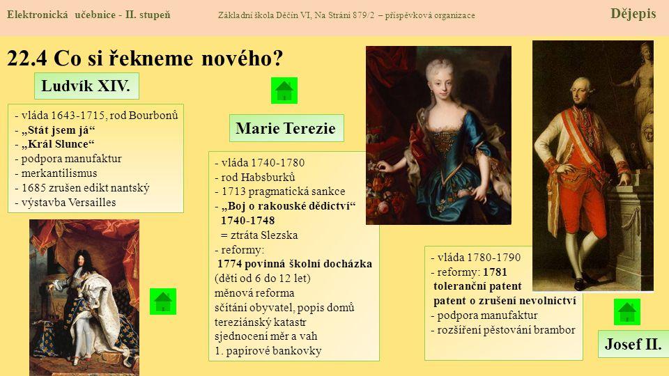 22.4 Co si řekneme nového Ludvík XIV. Marie Terezie Josef II.