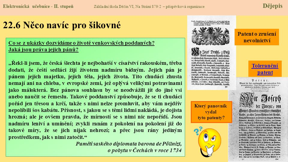22.6 Něco navíc pro šikovné Patent o zrušení nevolnictví