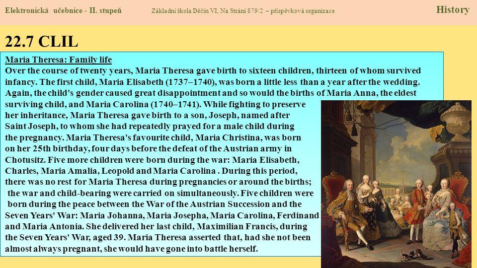 22.7 CLIL Maria Theresa: Family life