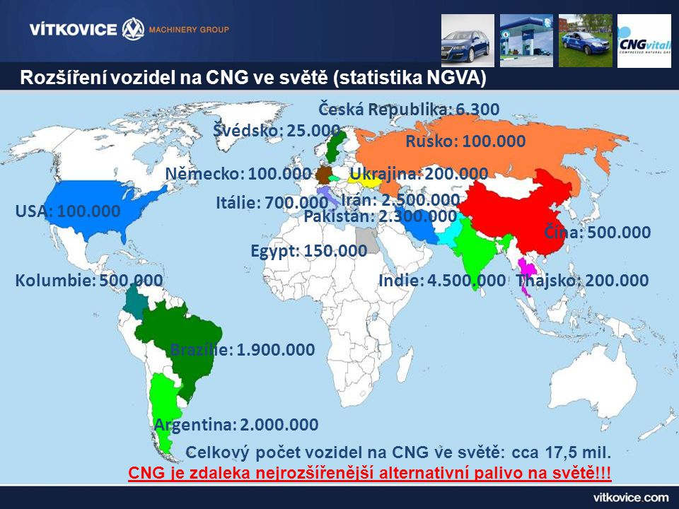 Rozšíření vozidel na CNG ve světě (statistika NGVA)