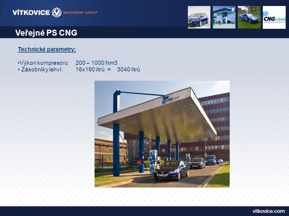 Veřejné PS CNG Technické parametry: Výkon kompresoru: 200 – 1000 Nm3