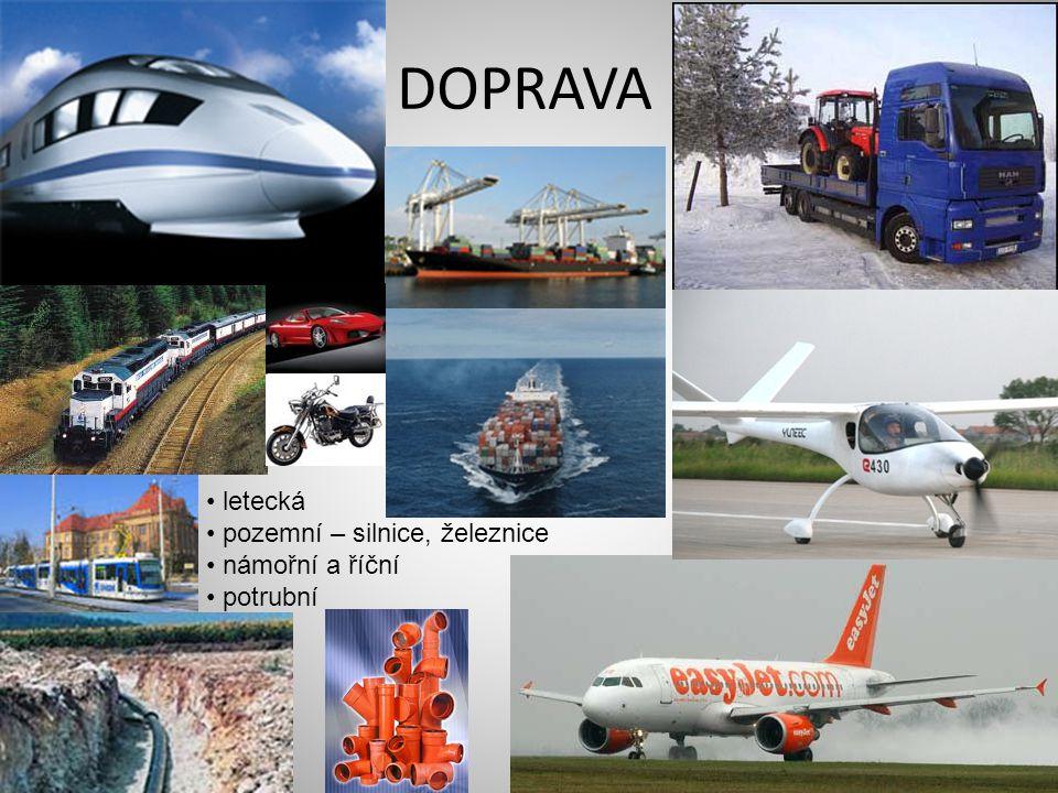 DOPRAVA letecká pozemní – silnice, železnice námořní a říční potrubní