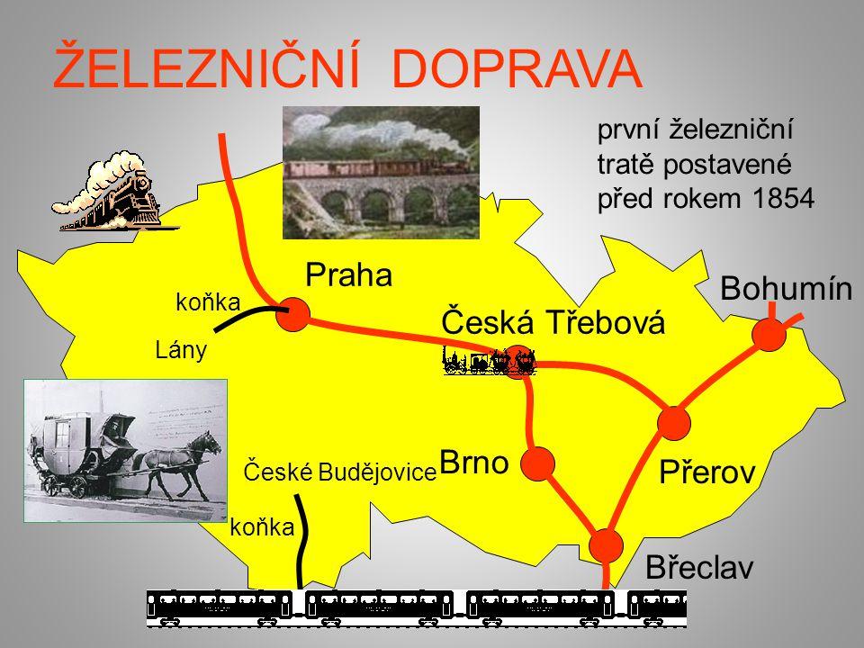 ŽELEZNIČNÍ DOPRAVA Praha Bohumín Česká Třebová Brno Přerov Břeclav
