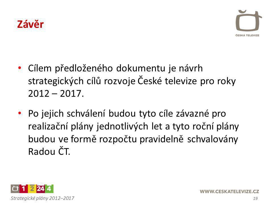 Závěr Cílem předloženého dokumentu je návrh strategických cílů rozvoje České televize pro roky 2012 – 2017.