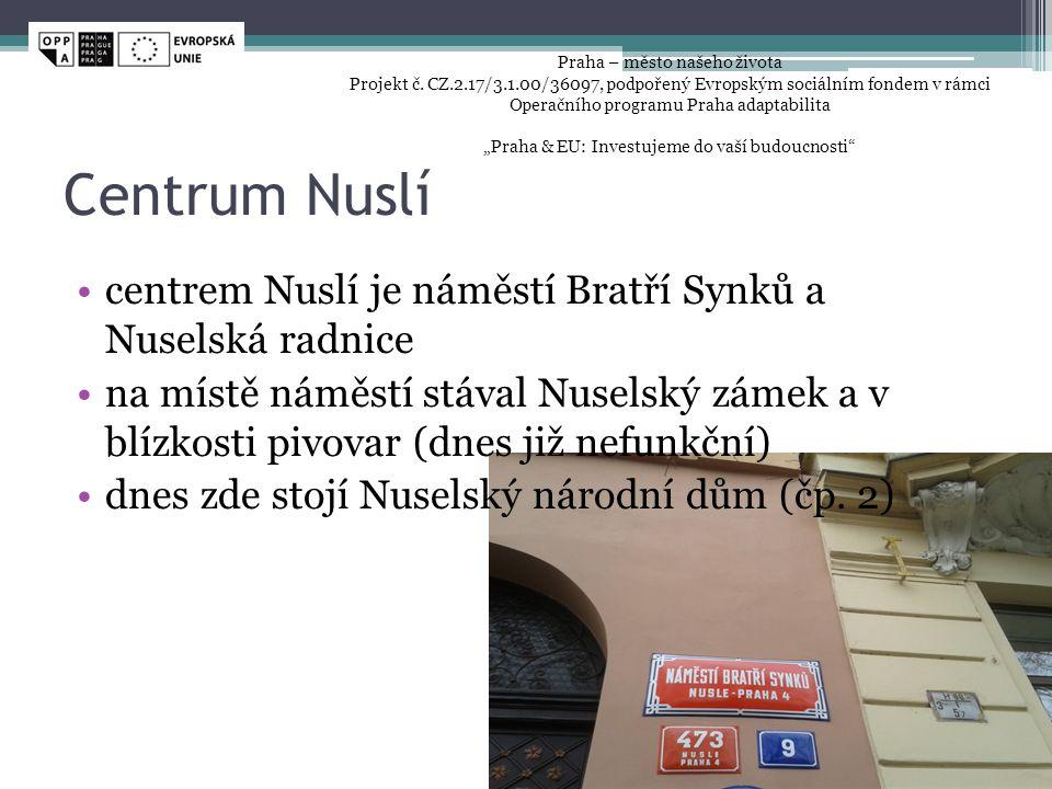 Centrum Nuslí centrem Nuslí je náměstí Bratří Synků a Nuselská radnice