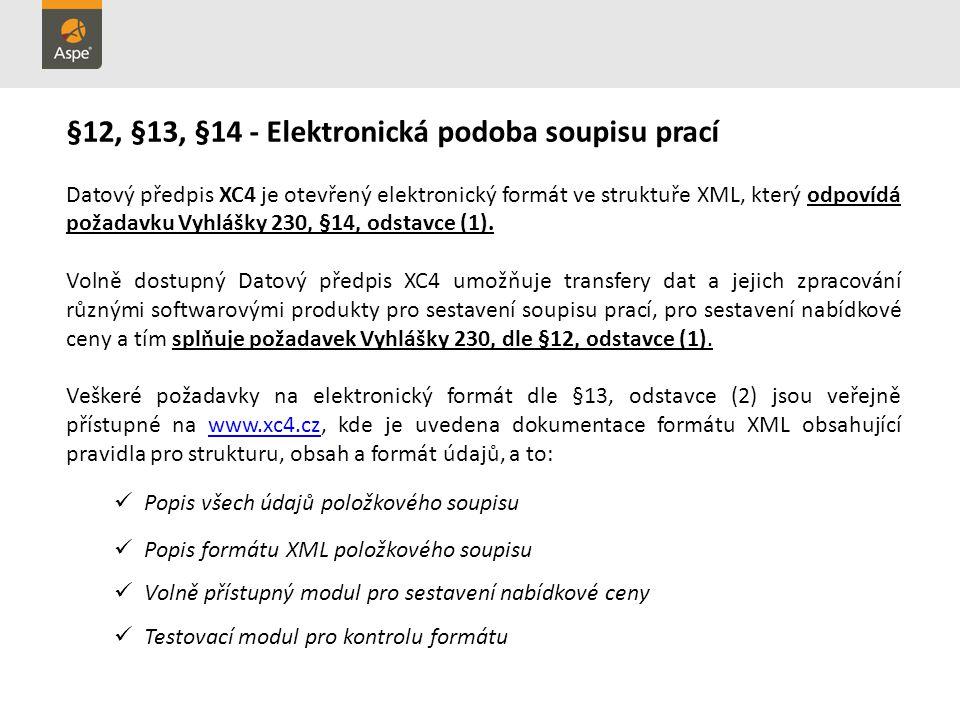 §12, §13, §14 - Elektronická podoba soupisu prací