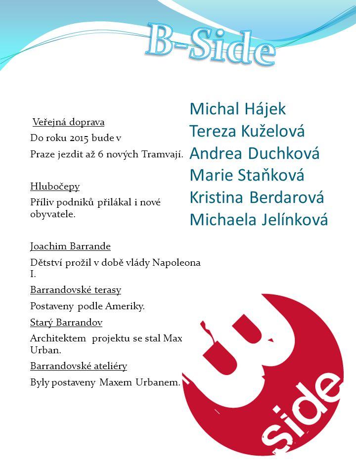 B-Side Michal Hájek Tereza Kuželová Andrea Duchková Marie Staňková Kristina Berdarová Michaela Jelínková.