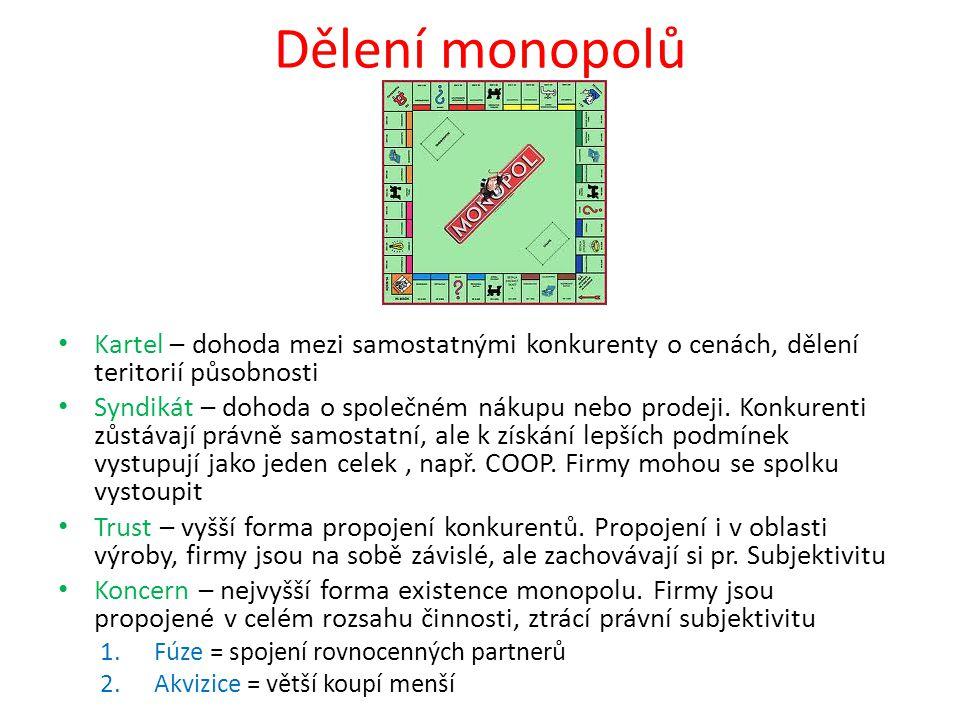 Dělení monopolů Kartel – dohoda mezi samostatnými konkurenty o cenách, dělení teritorií působnosti.