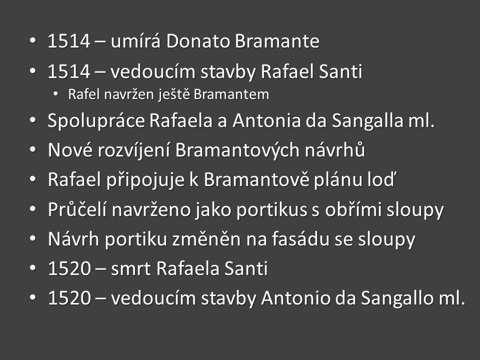 1514 – umírá Donato Bramante 1514 – vedoucím stavby Rafael Santi