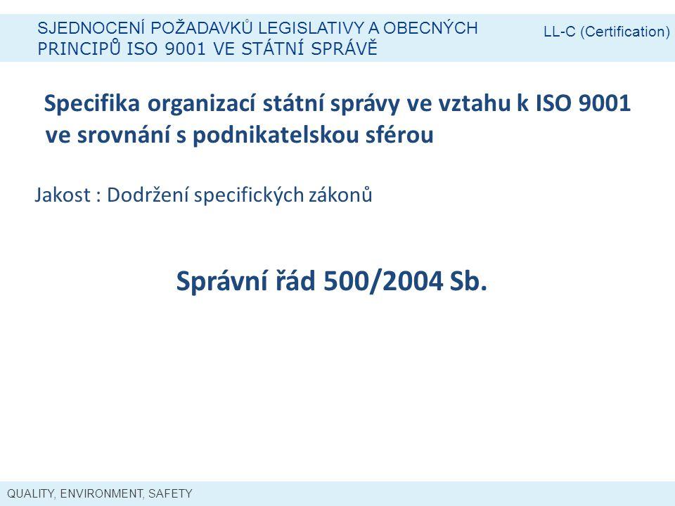 LL-C (Certification) Sjednocení požadavků legislativy a obecných. Principů ISO 9001 ve státní správě.