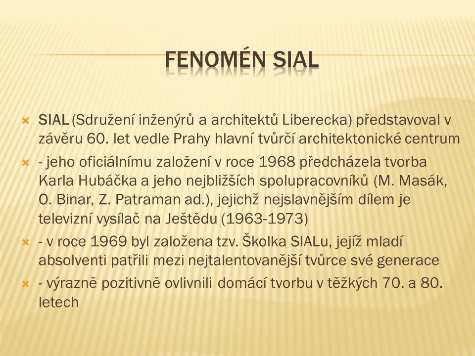 Fenomén SIAL SIAL (Sdružení inženýrů a architektů Liberecka) představoval v závěru 60. let vedle Prahy hlavní tvůrčí architektonické centrum.