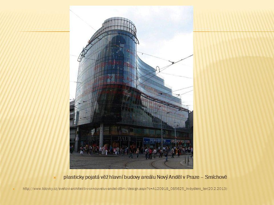 plasticky pojatá věž hlavní budovy areálu Nový Anděl v Praze – Smíchově