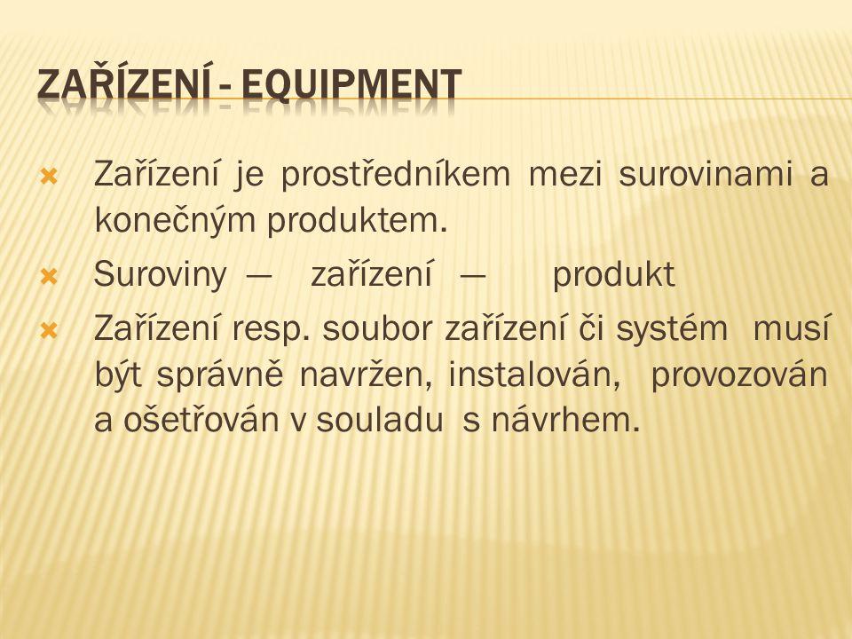 Zařízení - Equipment Zařízení je prostředníkem mezi surovinami a konečným produktem. Suroviny — zařízení — produkt.