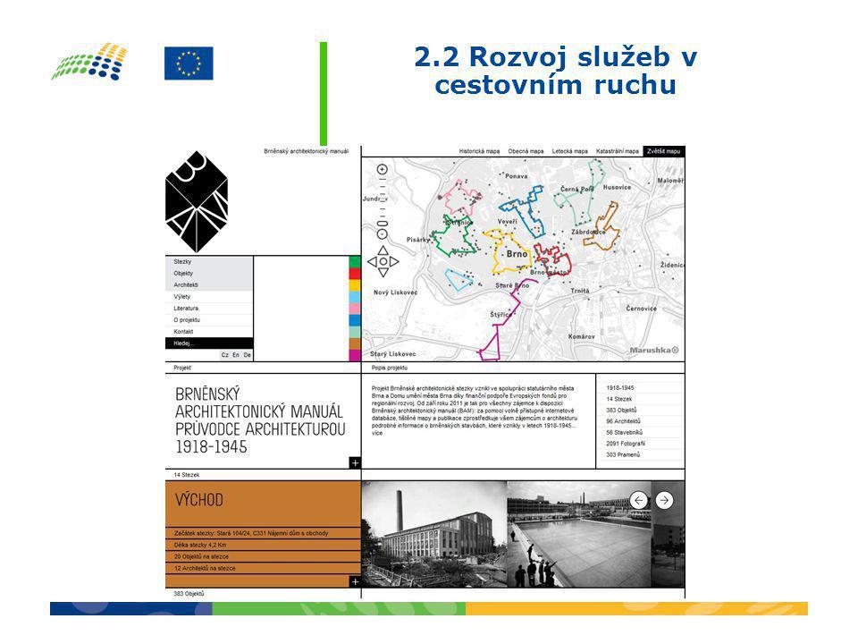 2.2 Rozvoj služeb v cestovním ruchu