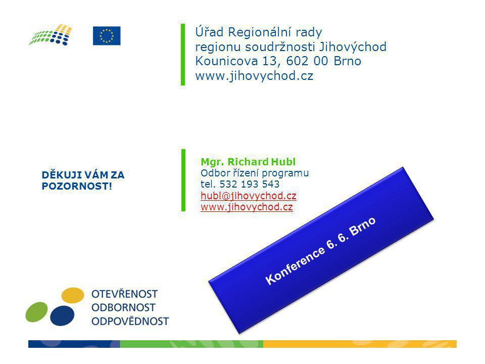 Úřad Regionální rady regionu soudržnosti Jihovýchod Kounicova 13, 602 00 Brno www.jihovychod.cz