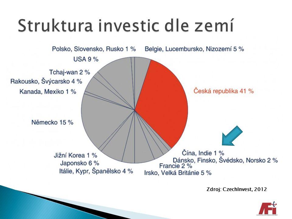 Struktura investic dle zemí
