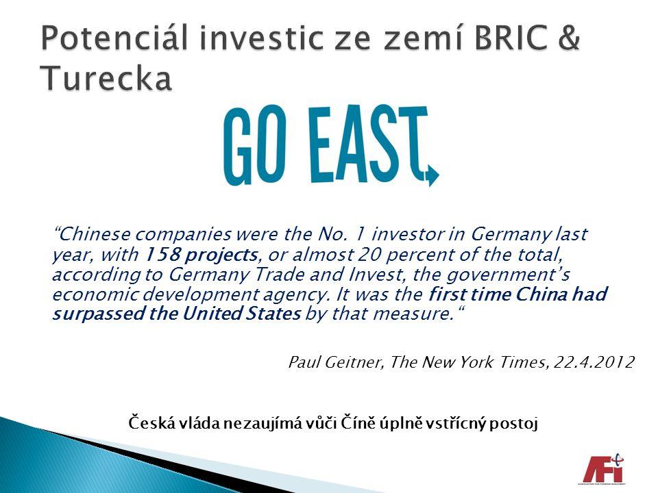 Potenciál investic ze zemí BRIC & Turecka