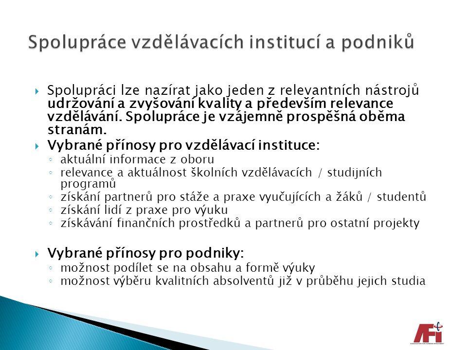 Spolupráce vzdělávacích institucí a podniků