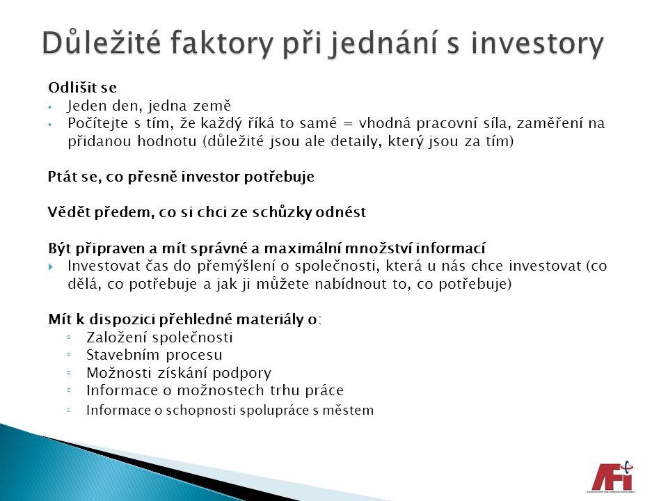 Důležité faktory při jednání s investory