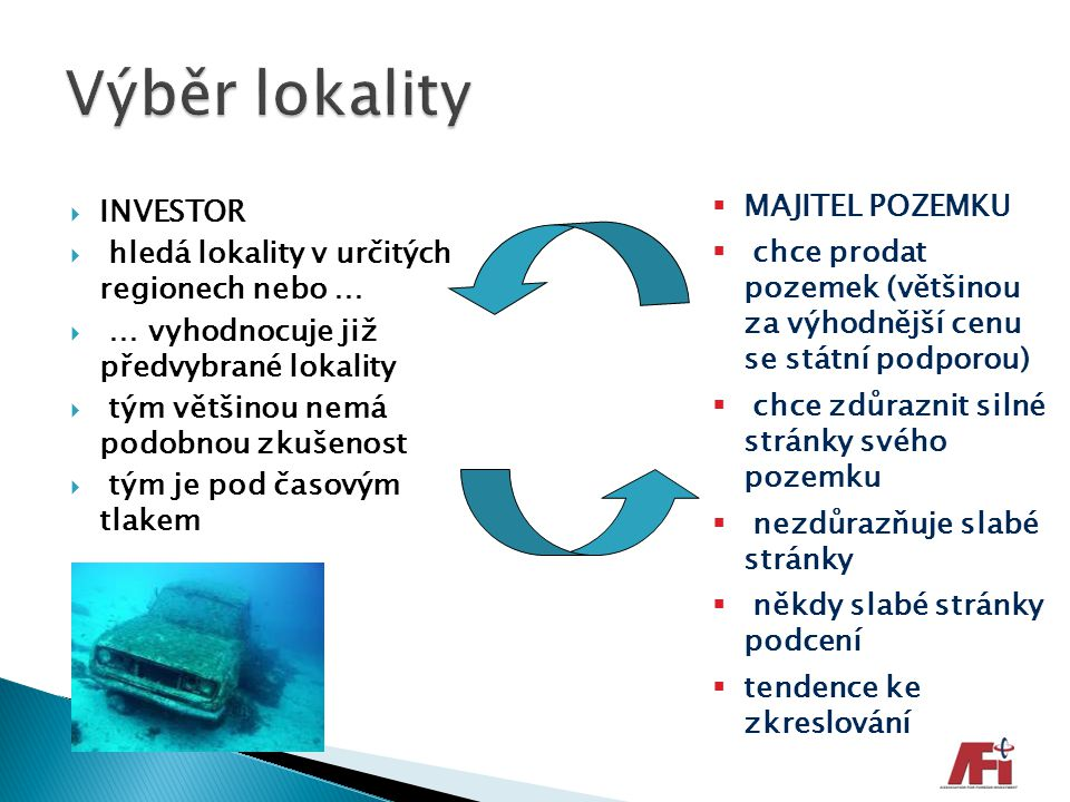 Výběr lokality INVESTOR MAJITEL POZEMKU