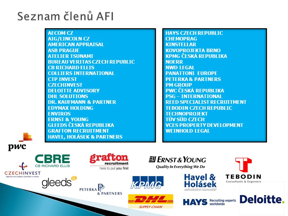 Seznam členů AFI AECOM CZ AIG/LINCOLN CZ AMERICAN APPRAISAL ASB PRAGUE