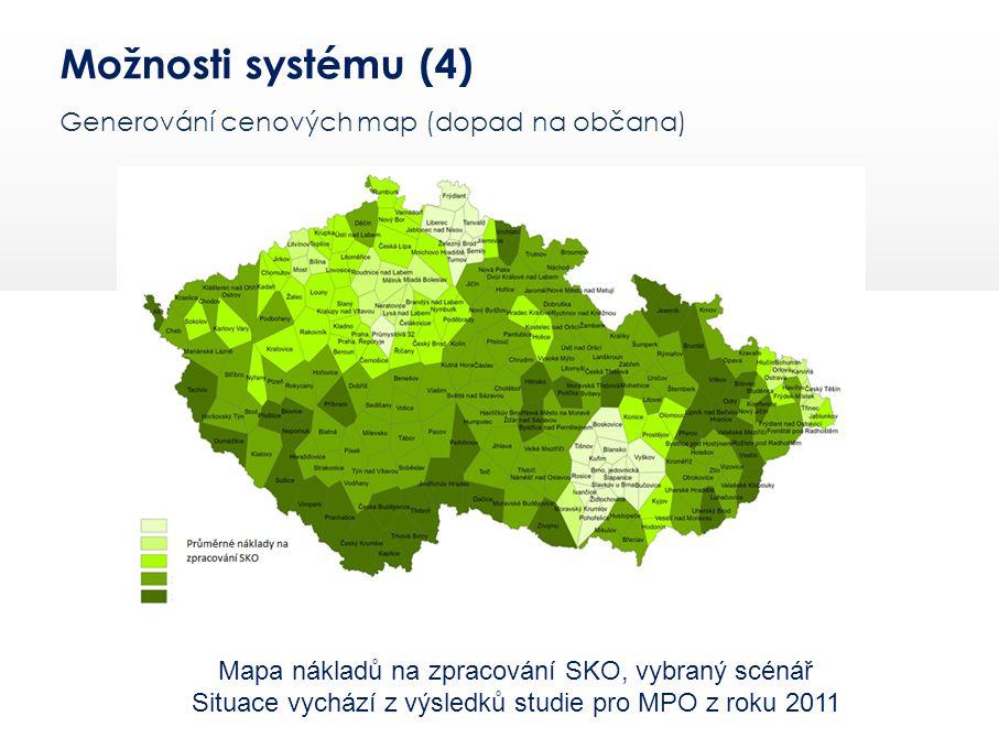 Možnosti systému (4) Generování cenových map (dopad na občana)