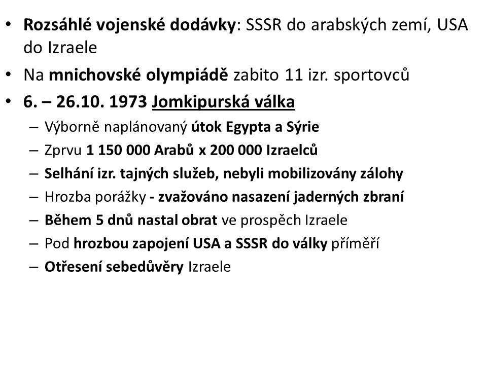 Rozsáhlé vojenské dodávky: SSSR do arabských zemí, USA do Izraele