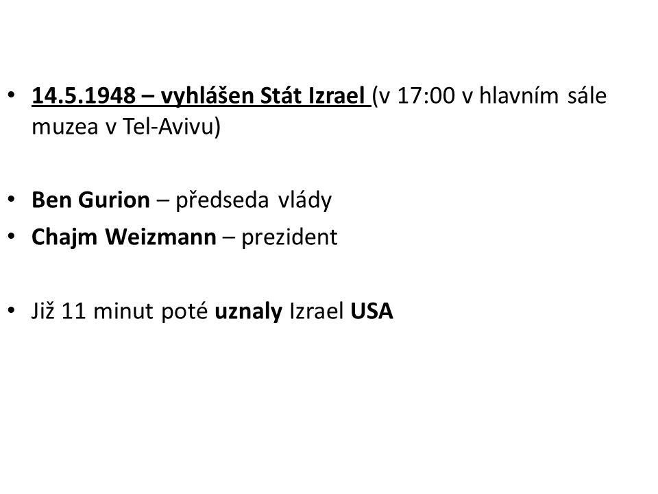 14.5.1948 – vyhlášen Stát Izrael (v 17:00 v hlavním sále muzea v Tel-Avivu)