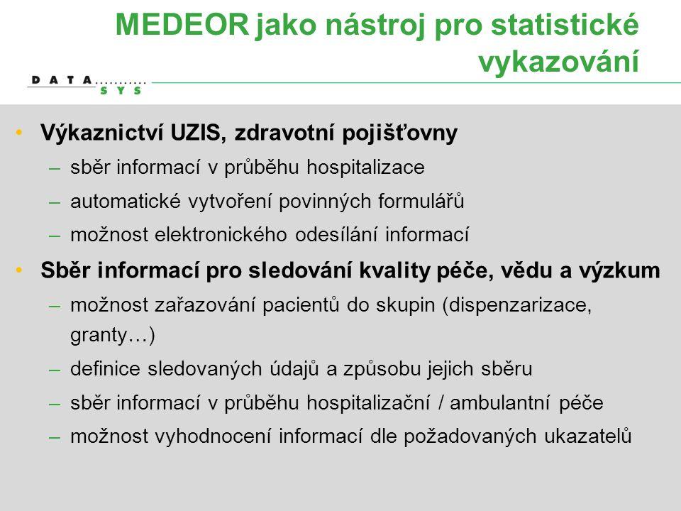 MEDEOR jako nástroj pro statistické vykazování