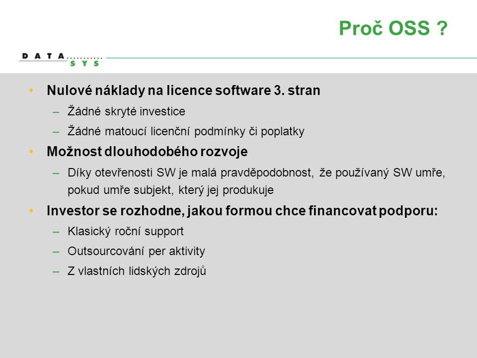 Proč OSS Nulové náklady na licence software 3. stran