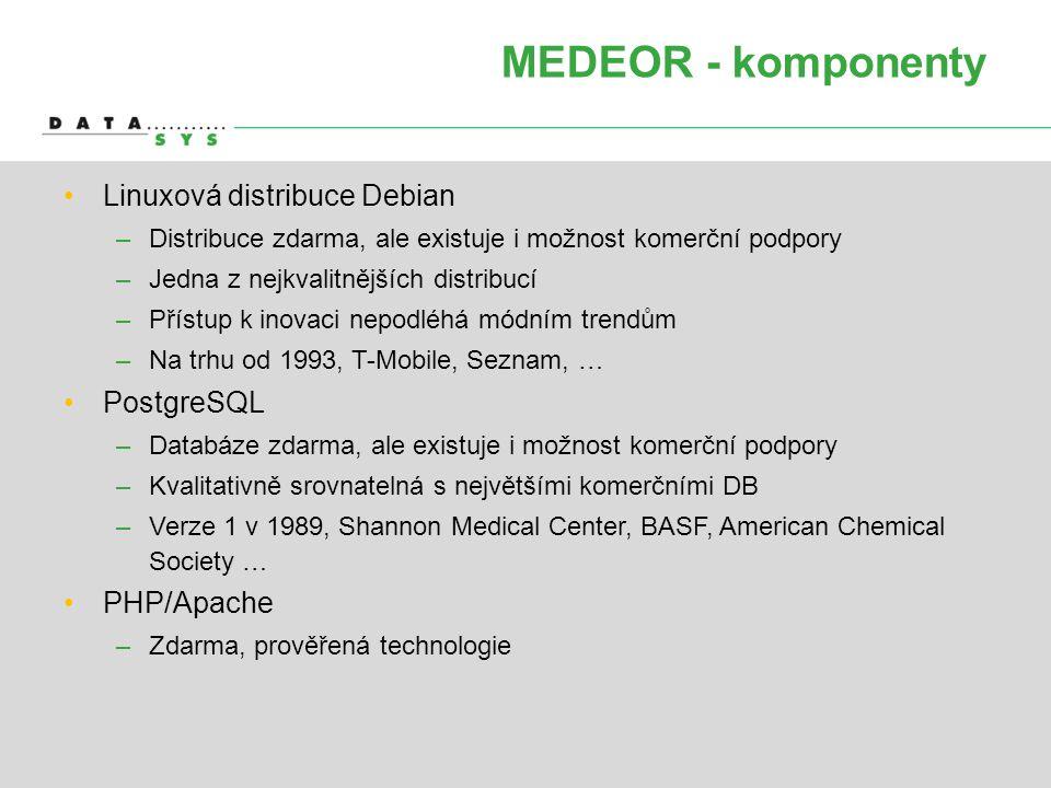 MEDEOR - komponenty Linuxová distribuce Debian PostgreSQL PHP/Apache