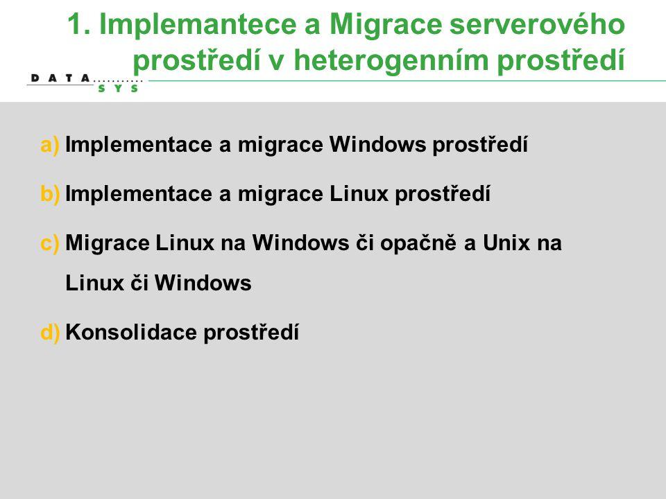 1. Implemantece a Migrace serverového prostředí v heterogenním prostředí