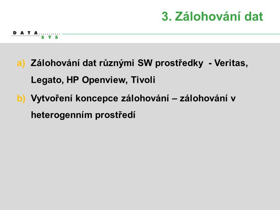 3. Zálohování dat Zálohování dat různými SW prostředky - Veritas, Legato, HP Openview, Tivoli.