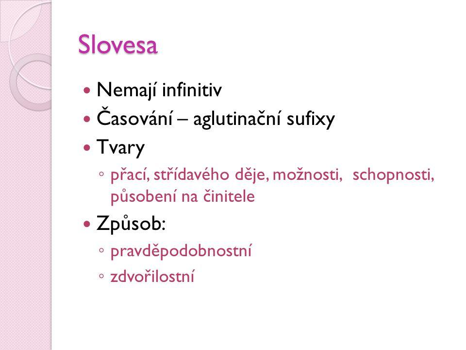 Slovesa Nemají infinitiv Časování – aglutinační sufixy Tvary Způsob: