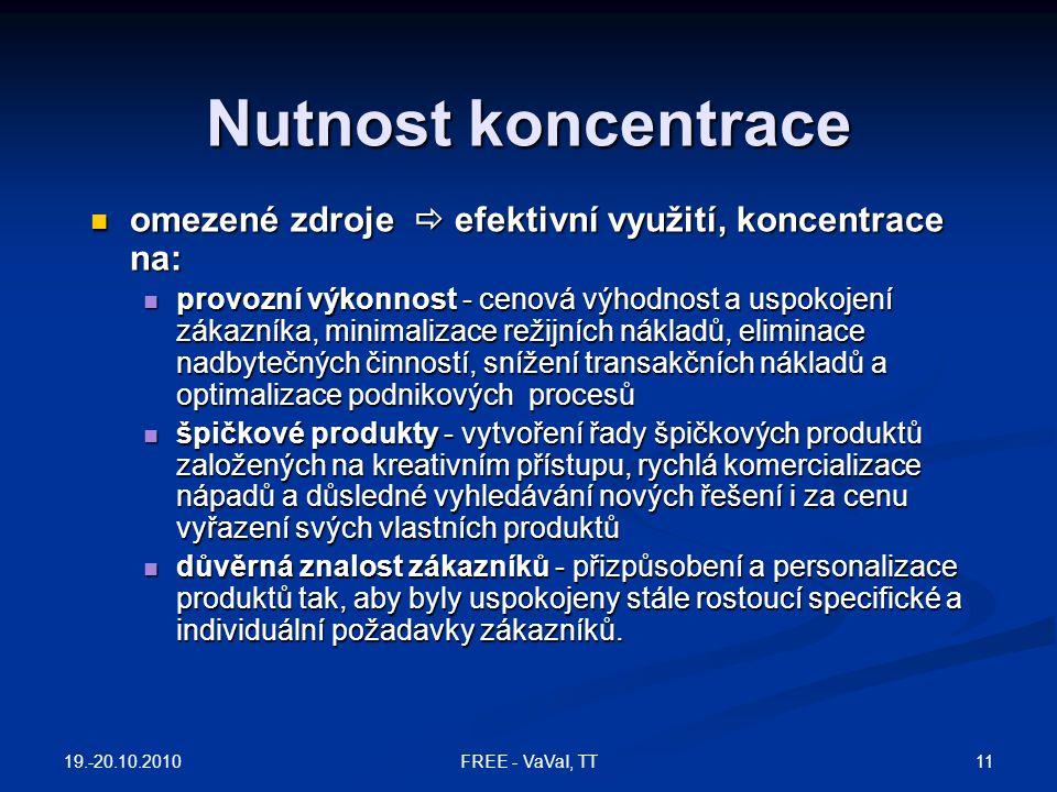 Nutnost koncentrace omezené zdroje  efektivní využití, koncentrace na: