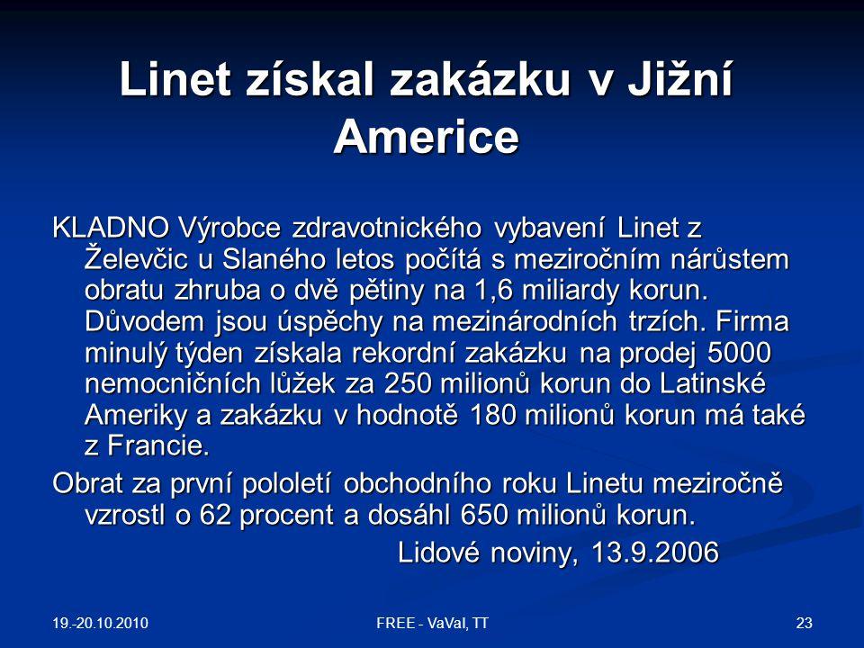 Linet získal zakázku v Jižní Americe