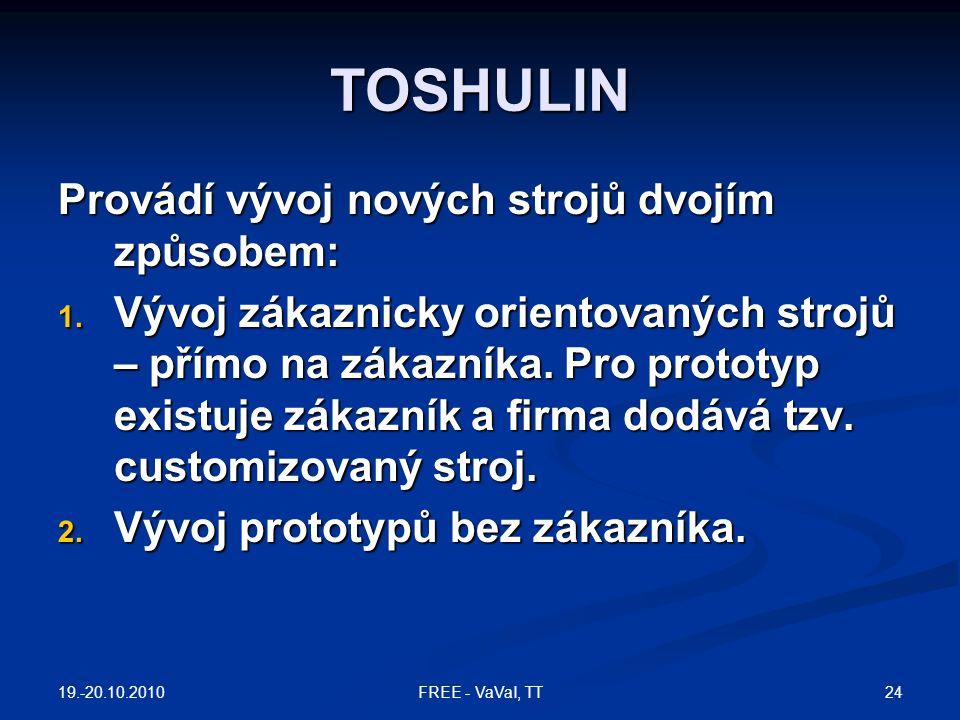 TOSHULIN Provádí vývoj nových strojů dvojím způsobem: