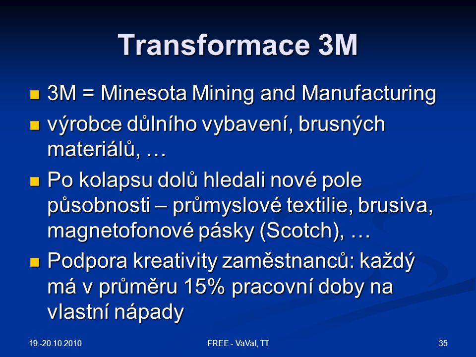 Transformace 3M 3M = Minesota Mining and Manufacturing