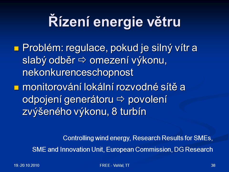 Řízení energie větru Problém: regulace, pokud je silný vítr a slabý odběr  omezení výkonu, nekonkurenceschopnost.