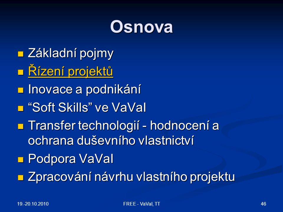 Osnova Základní pojmy Řízení projektů Inovace a podnikání
