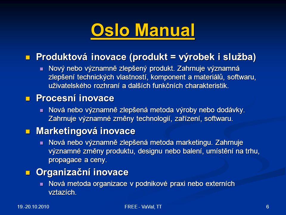 Oslo Manual Produktová inovace (produkt = výrobek i služba)