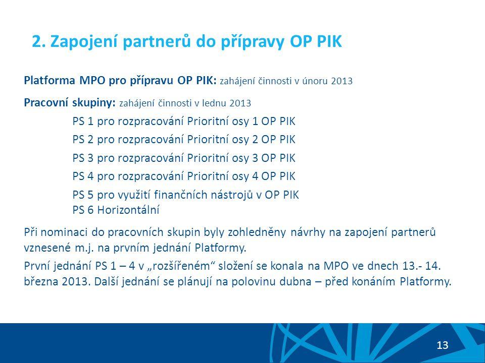 2. Zapojení partnerů do přípravy OP PIK