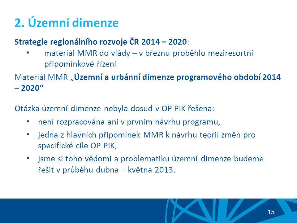 2. Územní dimenze Strategie regionálního rozvoje ČR 2014 – 2020: