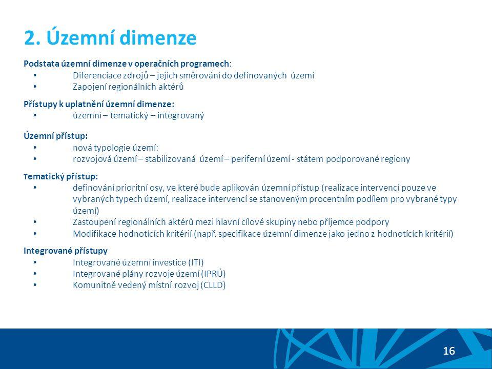 2. Územní dimenze Podstata územní dimenze v operačních programech: