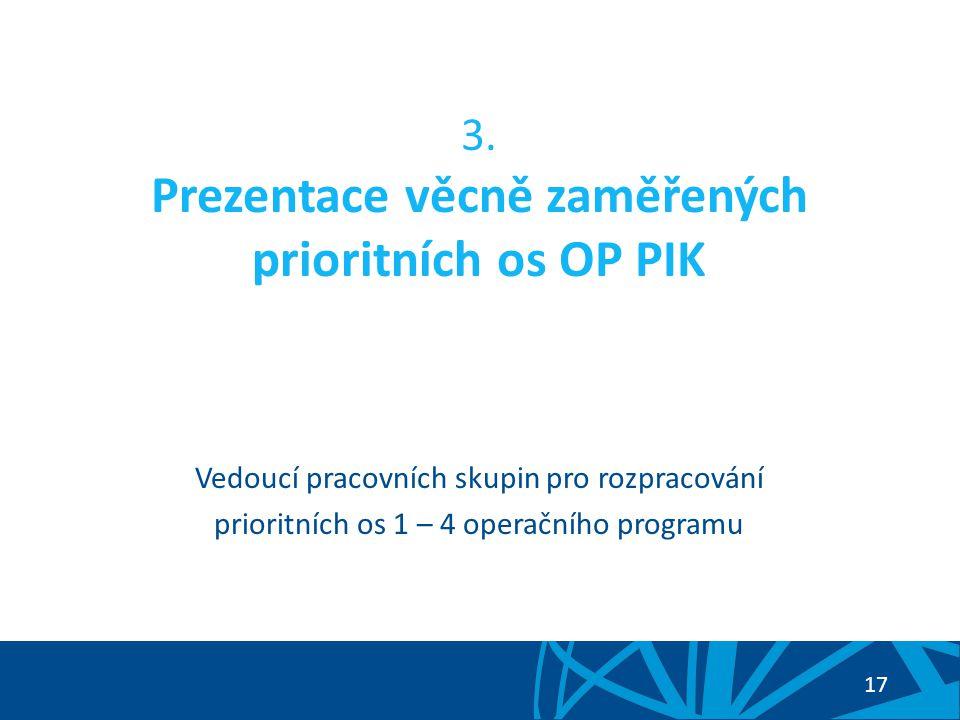 3. Prezentace věcně zaměřených prioritních os OP PIK