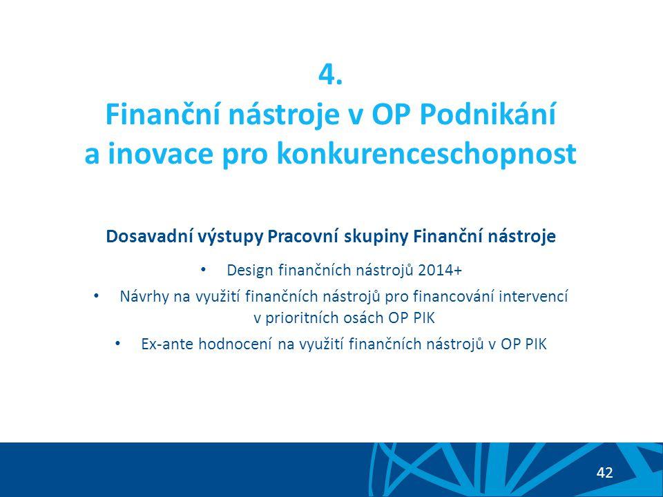 4. Finanční nástroje v OP Podnikání a inovace pro konkurenceschopnost