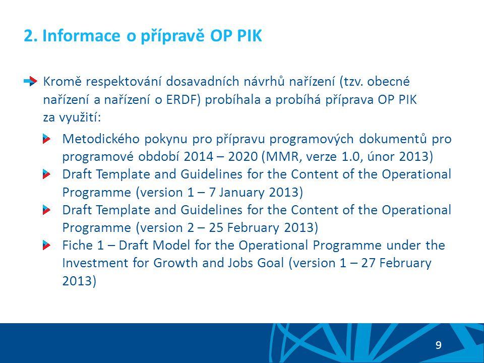 2. Informace o přípravě OP PIK